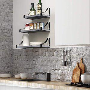 New Rustic Paulownia Wood Wall Shelves Set…